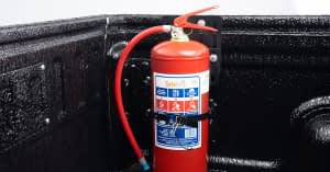 5kg Fire Extinguisher & Rubberised Load Bin
